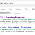 Prise d'écran du positionnement sur les moteurs de recherche de l'informatique à Bonsecours