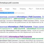 Prise d'écran du positionnement sur les moteurs de recherche de l'informatique à Petit-Couronne