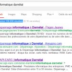 Prise d'écran du positionnement sur les moteurs de recherche de l'informatique à Darnétal