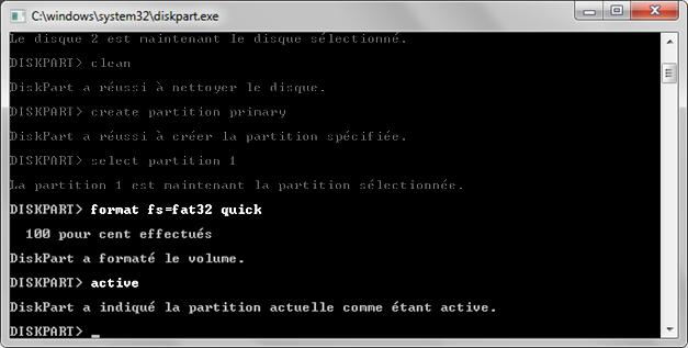 prise d'écran des commandes à renseigner pour la préparation d'un boot sur clé USB