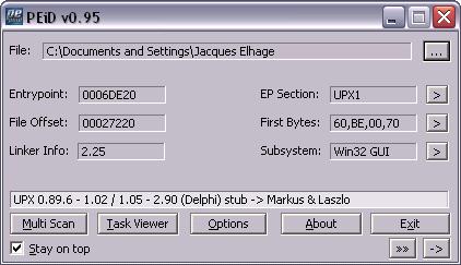 capture screen PEiD UPX