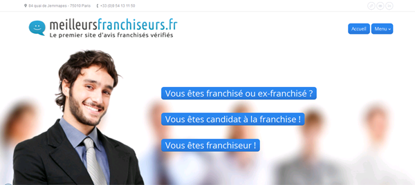 Illustration conception site internet franchiseurs page accueil