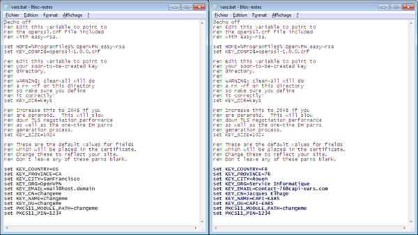 02 - OpenVpn - Certificat RSA - Modifier le fichier par défaut vars.bat-600x