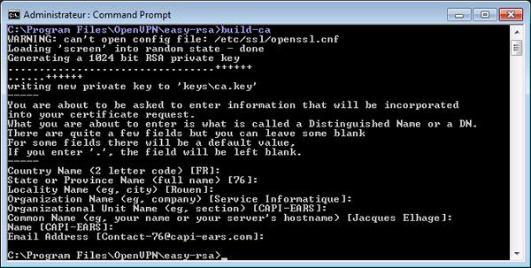 04 - OpenVpn - Certificat RSA - Création d'un certificat d'autorité CA pour Windows-600x303