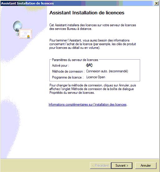 Capture écran Assistant d'installaton de licences  RDP