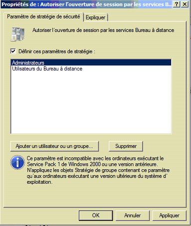 Capture d'écran - Utilistaeurs autorisés à se connecter au bueau à distance (RDP) sur un controleur de domaine