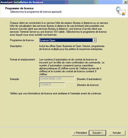 Capture d'écan Programme de licence Microsoft Open