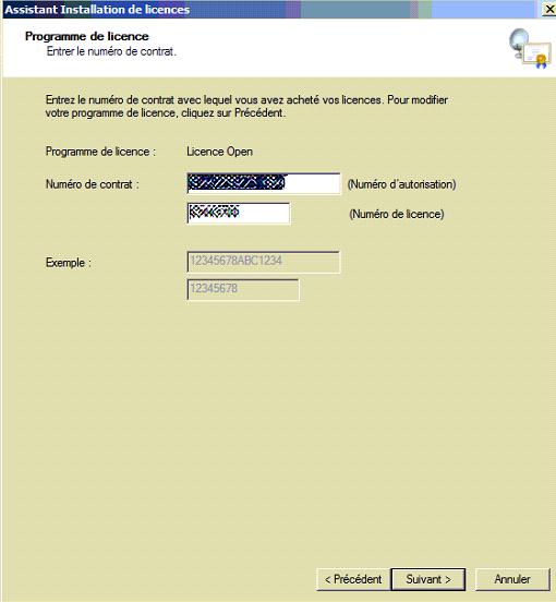 Capture d'écran Programme de licence - numero de contat