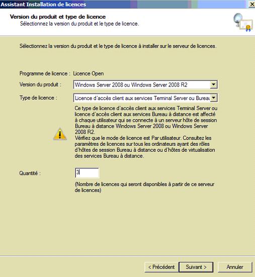 Capture d'écran Programme de licence - type de licence - client - peripherique