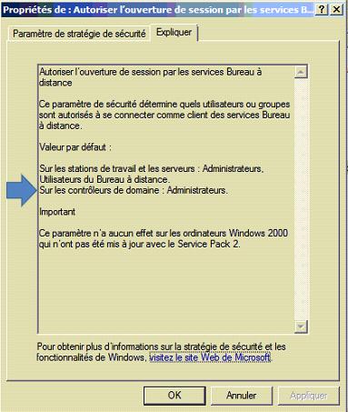 Capture d'écran : autoriser les utilisateurs de bureau à distance sur un controleur de domaine