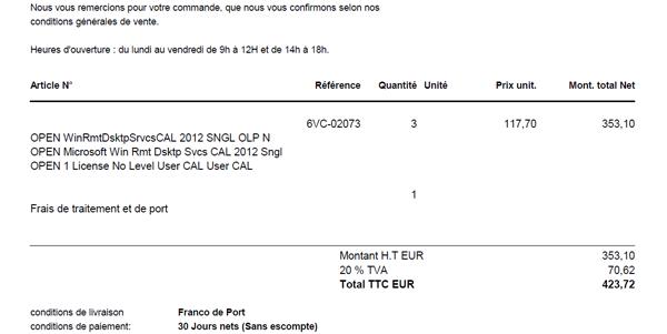 Capture d'écran d'un bon de commande Licences de 3 licences OPEN WinRmtDsktpSrvcsCAL 2012 SNGL OLP N - 6VC-02073