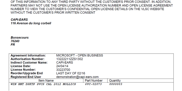 Microsoft Open License Purchase Order Confirmation