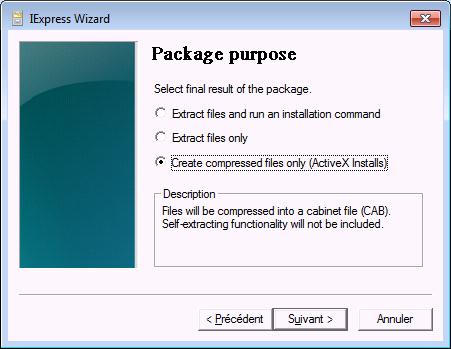 Prise d'écran de l'écran des paramètres dans iexpress (Création et modification d'un fichier CAB)