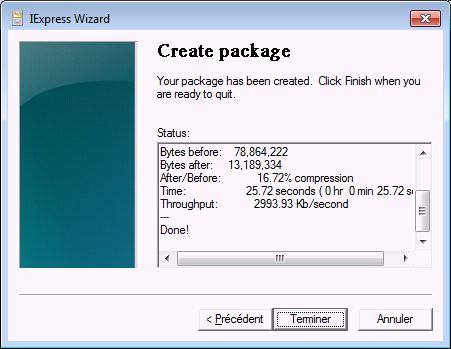 Prise d'écran de l'assistant de création d'un fichier iexpress (Création et modification d'un fichier CAB)
