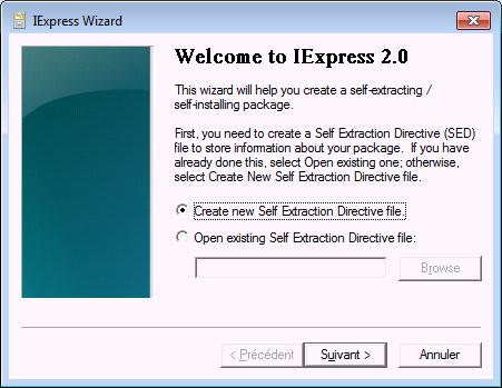 Prise d'écran de l'écran de démarrage du logiciel Iexpress (Création et modification d'un fichier CAB)