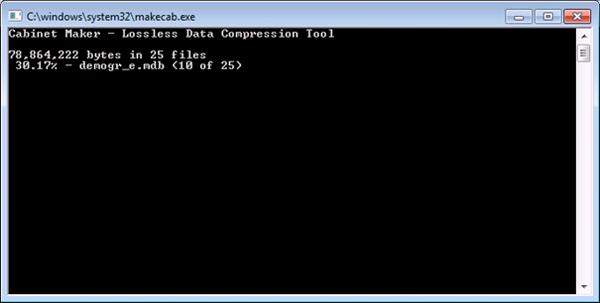 Prise d'écran de la génération d'une archive CAB dans iexpress (Création et modification d'un fichier CAB)