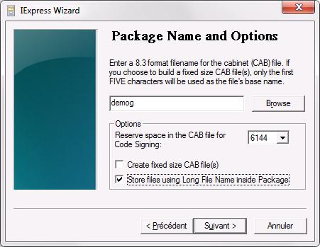 Prise d'écran des paramètres pour la création d'une archive CAB dans iexpress (Création et modification d'un fichier CAB)