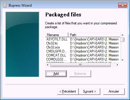 Prise d'écran d'ajout de fichiers dans une archive cab avec iexpress (Création et modification d'un fichier CAB)