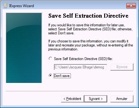 Prise d'écran de l'assistant de modification de fichier CAB - logiciel Iexpress